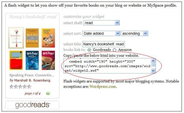 how to add goodreads widget to website
